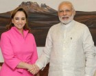 The Secretary of Foreign Affairs (Foreign Minister), Mexico, Claudia Ruiz Massieu calls on the Prime Minister, Narendra Modi, in New Delhi.
