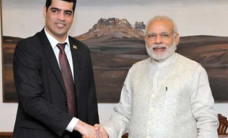 Vice President of Suriname, Ashwin Adhin calls on the Prime Minister, Narendra Modi, in New Delhi.