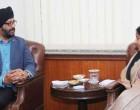 External Affairs Minister meets Kanwaljit Singh Bakshi, Memeber of Parliament of New Zealand in New Delhi.