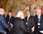 Prime Minister, Narendra Modi along with the Prime Minister of Belgium, Charles Michel meeting the CEOs