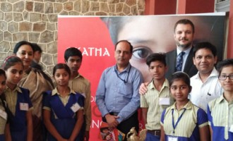 "Ambassador of Serbia to India H. E. Mr. Vladimir Maric at a Charity Sales Exhibition of Children's Paintings and Handicrafts at the Embassy of the Republic of Serbia in India in collaboration with Indian ""NGO KATHA"""