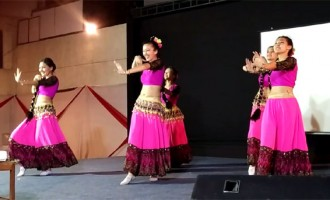"Kyrgyz Dancers dancing on Indian Bollywood Song "" Chammak Challo "" at a Cultural Evening organised by the Embassy of Kyrgyz Republic in India"