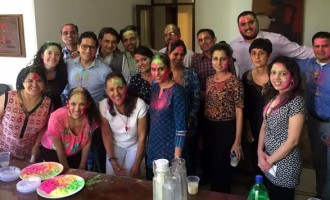 "Festival of colors ""Holi"" celebrated at the Embassy of Mexico in New Delhi, India"