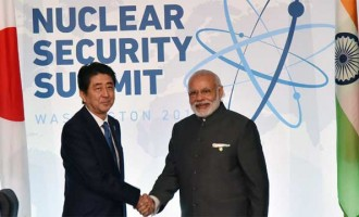 Prime Minister, Narendra Modi meeting the Prime Minister of Japan, Shinzo Abe,
