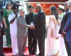 President, Pranab Mukherjee being received by the Deputy Prime Minister of Papua New Guinea, Leo Dion