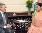 Minister of International Trade & Industry, Malaysia, Dato Sri Mustapa Mohamed calling on the MoS for Commerce & Industry (IC), Nirmala Sitharaman, in New Delhi.
