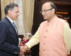 High Commissioner of Cyprus to India, Demetrios A. Theophylactou calling on the Minister for Finance, Corporate Affairs and I&B, Arun Jaitley