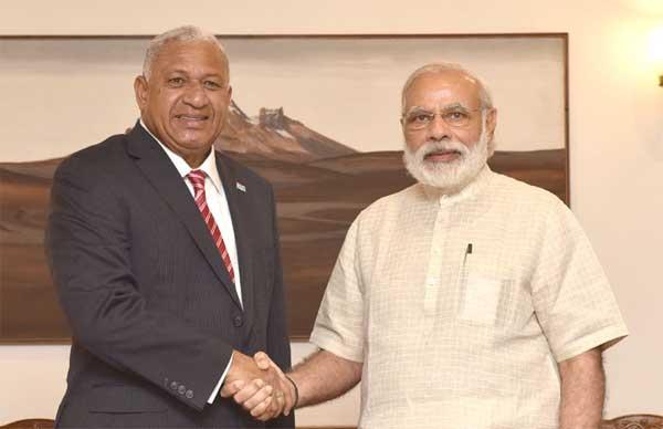 The Prime Minister of Fiji, Josaia Voreqe Bainimarama calls on the Prime Minister, Narendra Modi, in New Delhi.