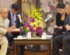 President, Pranab Mukherjee meeting the Party Secretary of Guangdong, Hu Chunhua, in Guangzhou, China.