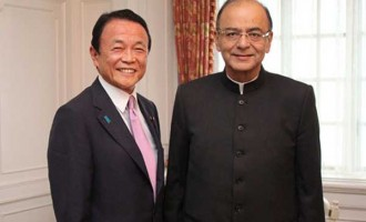 Minister for Finance, Corporate Affairs and I&B, Arun Jaitley meeting the Deputy Prime Minister and Finance Minister of Japan, Taro Aso, in Tokyo, Japan