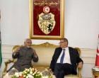 Vice President, M. Hamid Ansari with the Prime Minister of Tunisia, Habib Essid on his arrival, in Tunisia.