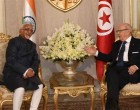Vice President, M. Hamid Ansari calling on the President of Tunisia, Beji Caid Essebsi, in Tunisia.