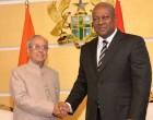 President, Pranab Mukherjee meeting the President of the Republic of Ghana, John Dramani Mahama, at Flagstaff House
