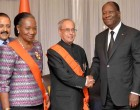 President, Pranab Mukherjee at the banquet hosted in his honour by the President of the Republic of Cote d'Ivoire, Alassane Ouattara