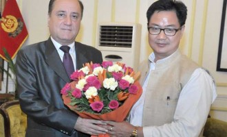 Ambassador of the Syrian Arab Republic to India, Dr. Riad Kamel Abbas calling on the Minister of State for Home Affairs, Kiren Rijiju