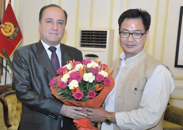 The Ambassador of the Syrian Arab Republic to India, Dr. Riad Kamel Abbas calling on the Minister of State for Home Affairs, Kiren Rijiju, in New Delhi on June 17, 2016.