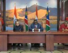 President of India, Pranab Mukherjee, along with Dr Hage G Geingob, President of the Republic of Namibia participating the signing of agreements