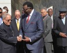 President, Pranab Mukherjee being received by the President of the Republic of Namibia, Hage Geingob