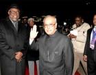President, Pranab Mukherjee being bid farewell by the President of the Republic of Namibia, Hage Geingob