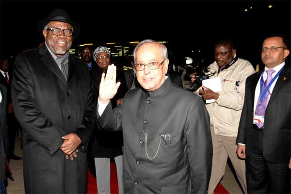 The President, Pranab Mukherjee being bid farewell by the President of the Republic of Namibia, Hage Geingob on his departure from Hosea Kutako International Airport, in Namibia, Windhoek.