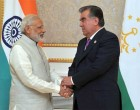 Prime Minister, Narendra Modi in a bilateral meeting with the President of the Republic of Tajikistan, Emomali Rahmon