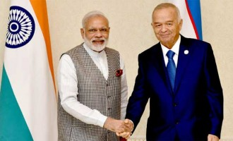 Prime Minister, Narendra Modi in a bilateral meeting with the President of the Republic of Uzbekistan, Islam Karimov,
