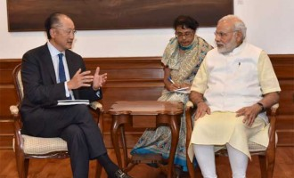 President, World Bank, Jim Yong Kim calling on the Prime Minister, Narendra Modi, in New Delhi