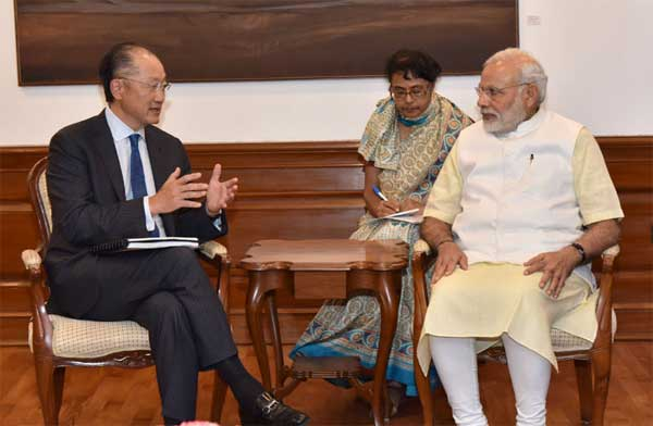 President, World Bank, Jim Yong Kim calling on the Prime Minister, Narendra Modi, in New Delhi on June 30, 2016.