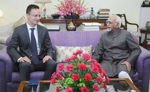 The Minister of Foreign Affairs and Trade of Hungary, Peter Szijjarto calling on the Vice President, M. Hamid Ansari, in New Delhi.