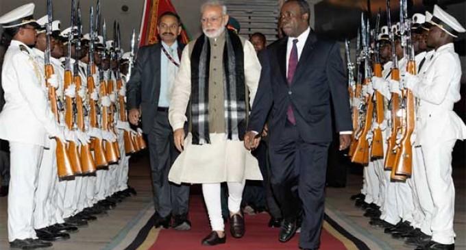 Modi arrives in Mozambique
