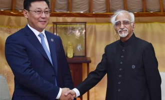 Prime Minister of Mongolia, J. Erdenebat calling on the Vice President, M. Hamid Ansari,
