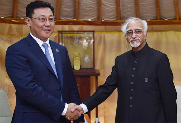The Prime Minister of Mongolia, J. Erdenebat calling on the Vice President, M. Hamid Ansari, on the sidelines of the 11th ASEM Summit, in Ulaanbaatar, Mongolia on July 15, 2016. The Prime Minister of Mongolia, J. Erdenebat calling on the Vice President, M. Hamid Ansari, on the sidelines of the 11th ASEM Summit, in Ulaanbaatar, Mongolia on July 15, 2016.