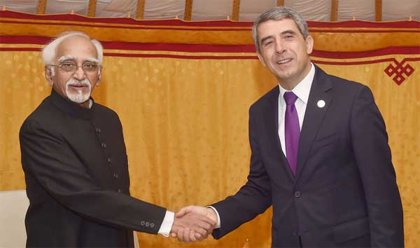 The Vice President, M. Hamid Ansari in a bilateral meeting with the President of Bulgaria, Rosen Plevneliev on the sidelines of the 11th ASEM Summit, in Ulaanbaatar, Mongolia on July 15, 2016.