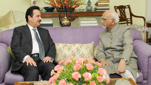 The Ambassador of the State of Qatar to India, Ahmed Ibrahim Abdulla Al Abdulla calling on the Vice President, M. Hamid Ansari, in New Delhi.