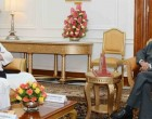 Home Minister of Bangladesh, Asaduzzaman Khan calling on the President, Pranab Mukherjee,