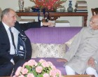 The Ambassador of Tunisia to India, Tarek Azouz calling on the Vice President, M. Hamid Ansari, in New Delhi