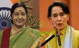Sushma meets Aung San Suu Kyi