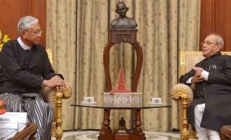 President of Myanmar, Htin Kyaw calling on the President, Pranab Mukherjee, at Rashtrapati Bhavan,