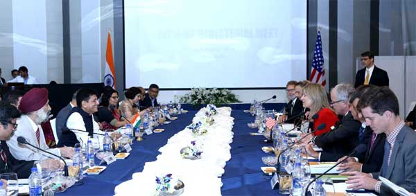 The Minister of State for Power, Coal, New and Renewable Energy and Mines (Independent Charge), Piyush Goyal and the Deputy Secretary, Department of Energy, U.S., Elizabeth Sherwood-Randall at the Indo-US Ministerial Meet, in New Delhi.
