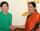 United States Secretary of Commerce, Penny Pritzker meeting the MoS for Commerce & Industry (IC), Nirmala Sitharaman