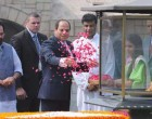 President of the Arab Republic of Egypt, Abdel Fattah el-Sisi paying floral tributes at the Samadhi of Mahatma Gandhi, at Rajghat,