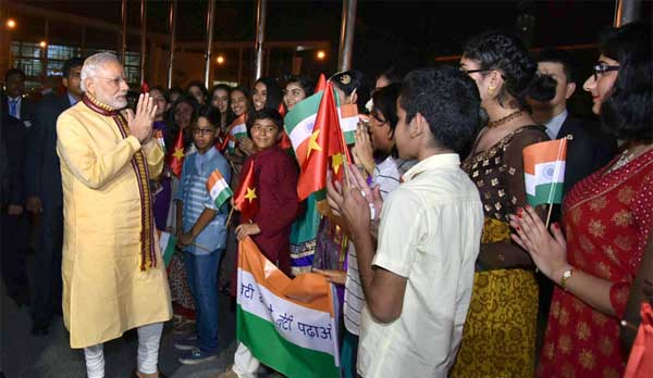 Prime Minister, Narendra Modi being accorded a warm welcome by the children on his arrival, at Hanoi, Vietnam.