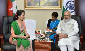The State Counsellor of Myanmar, Aung San Suu Kyi meeting the Prime Minister, Narendra Modi