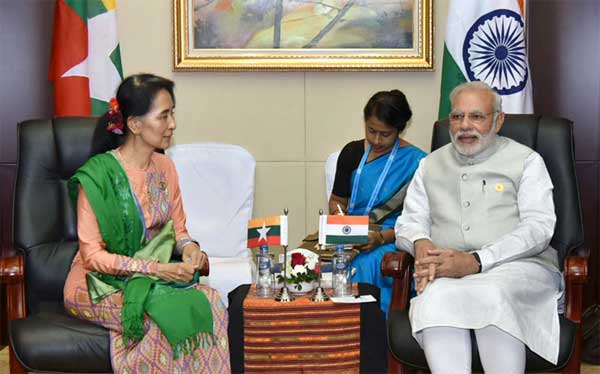 The State Counsellor of Myanmar, Aung San Suu Kyi meeting the Prime Minister, Narendra Modi, on the sidelines of the 14th ASEAN-India Summit, at Vientiane, Lao PDR on September 08, 2016.