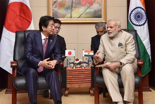 The Prime Minister, Narendra Modi meeting the Prime Minister of Japan, Shinzo Abe, on sideline of the 14th ASEAN India and 11th East Asia Summits, at Vientiane, Lao PDR on September 07, 2016.  The Prime Minister, Narendra Modi meeting the Prime Minister of Japan, Shinzo Abe, on sideline of the 14th ASEAN India and 11th East Asia Summits, at Vientiane, Lao PDR.