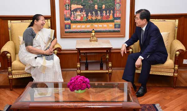 Ambassador of Republic of Korea  Cho Hyun  calls on Lok Sabha Speaker Sumitra Mahajan in Parliament House on September 09, 2016.