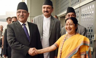 PM of Nepal, Pushpa Kamal Dahal being received by the Union Minister for External Affairs, Sushma Swaraj