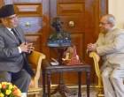 Prime Minister of Nepal, Pushpa Kamal Dahal calling on the President, Pranab Mukherjee,