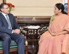 High Commissioner of Cyprus to India, Demetrios A. Theophylactou meeting the MoS for Commerce & Industry (IC), Nirmala Sitharaman