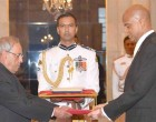 High Commissioner-designate of Guyana, Dr. David Goldwin Pollard presenting his credentials to the President, Pranab Mukherjee